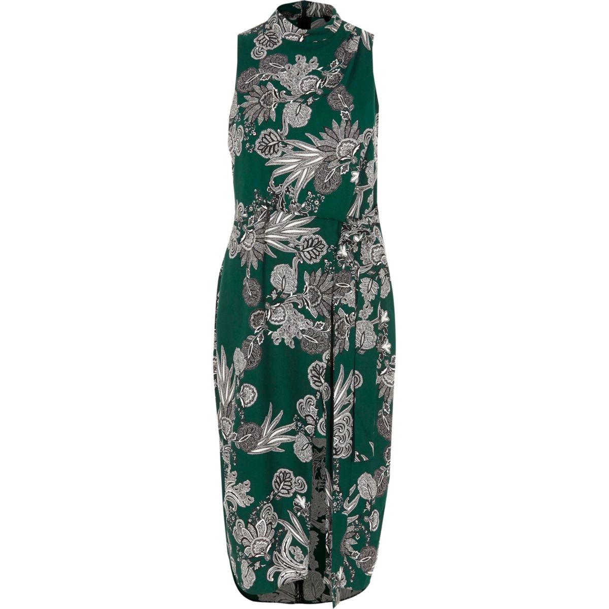 Green floral print high neck midi dress