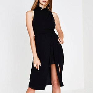 Black high neck waisted midi dress