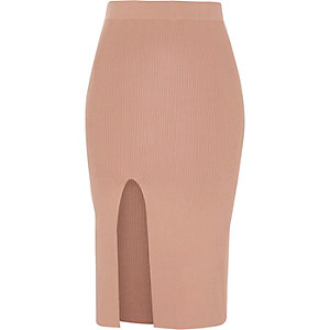 Pink ribbed fitted midi skirt
