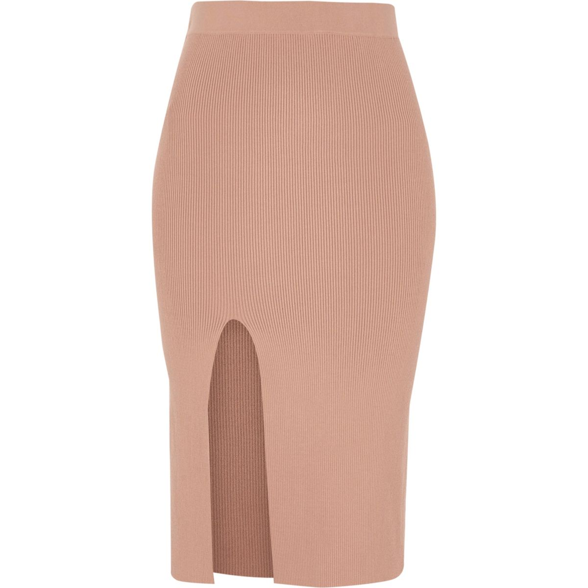 Pink ribbed fitted midi skirt - Skirts - Sale - women