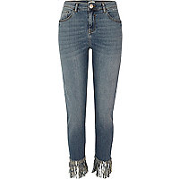 Blue Alannah frayed hem relaxed skinny jeans