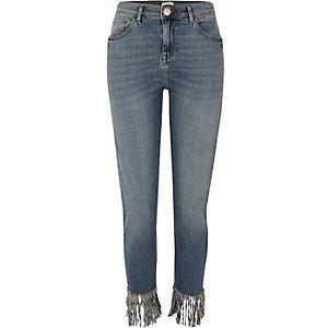 Alannah - Blauwe relaxte skinny jeans met gerafelde zoom