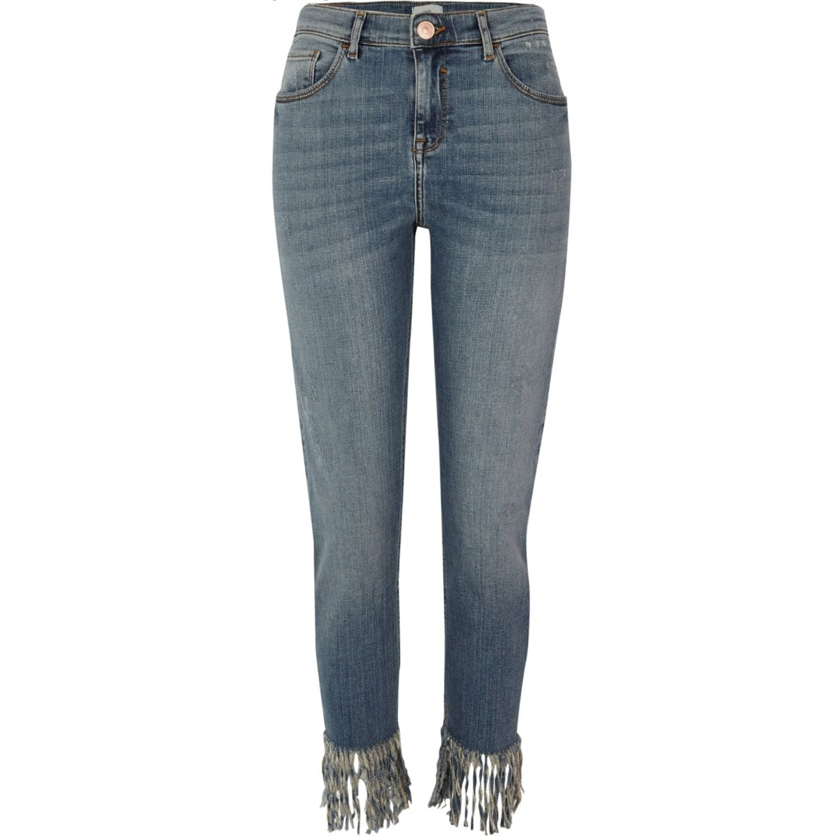 Alannah – Blaue Skinny Jeans mit Fransensaum