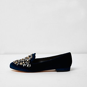 Navy velvet embellished slippers