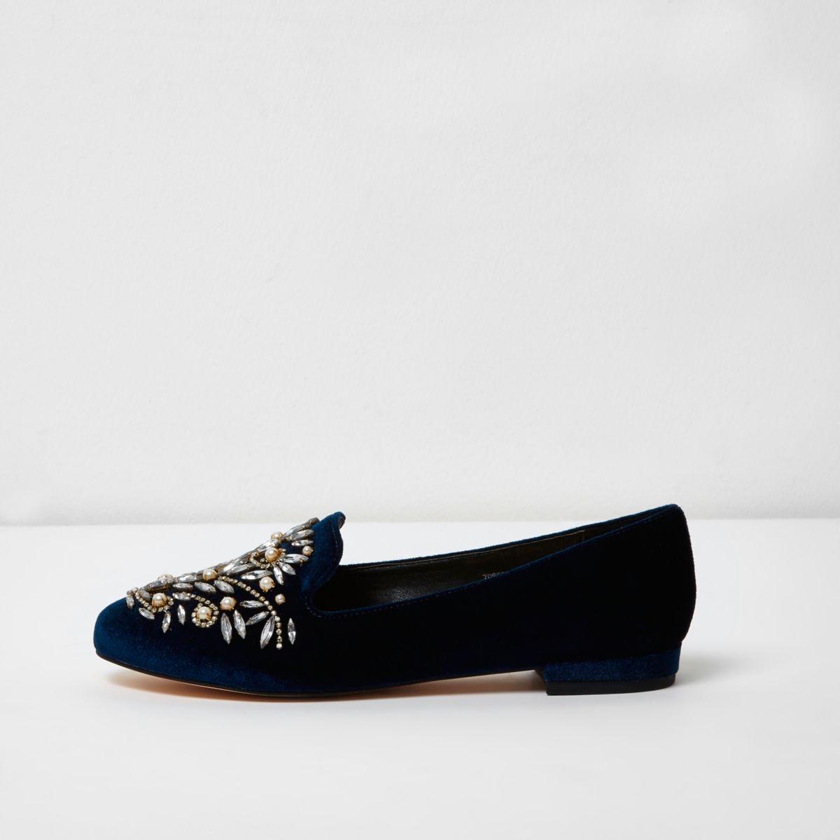 Navy velvet embellished slippers