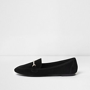 Black suede snaffle slippers