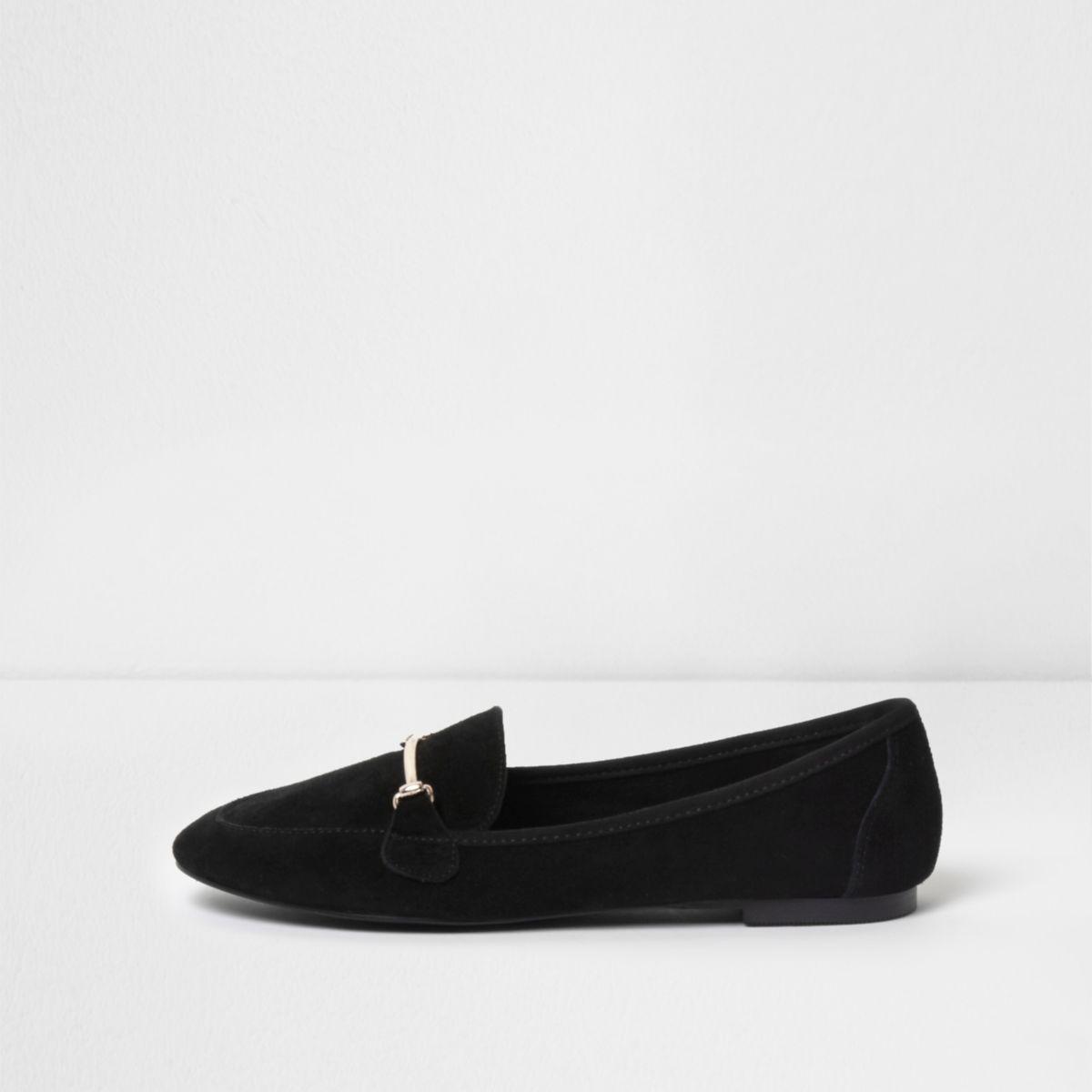 Black suede snaffle slippers