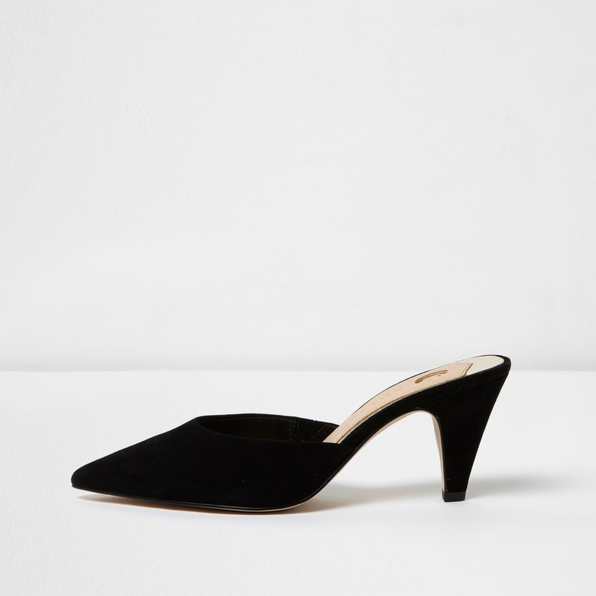 Black pointed cone heel suede mules