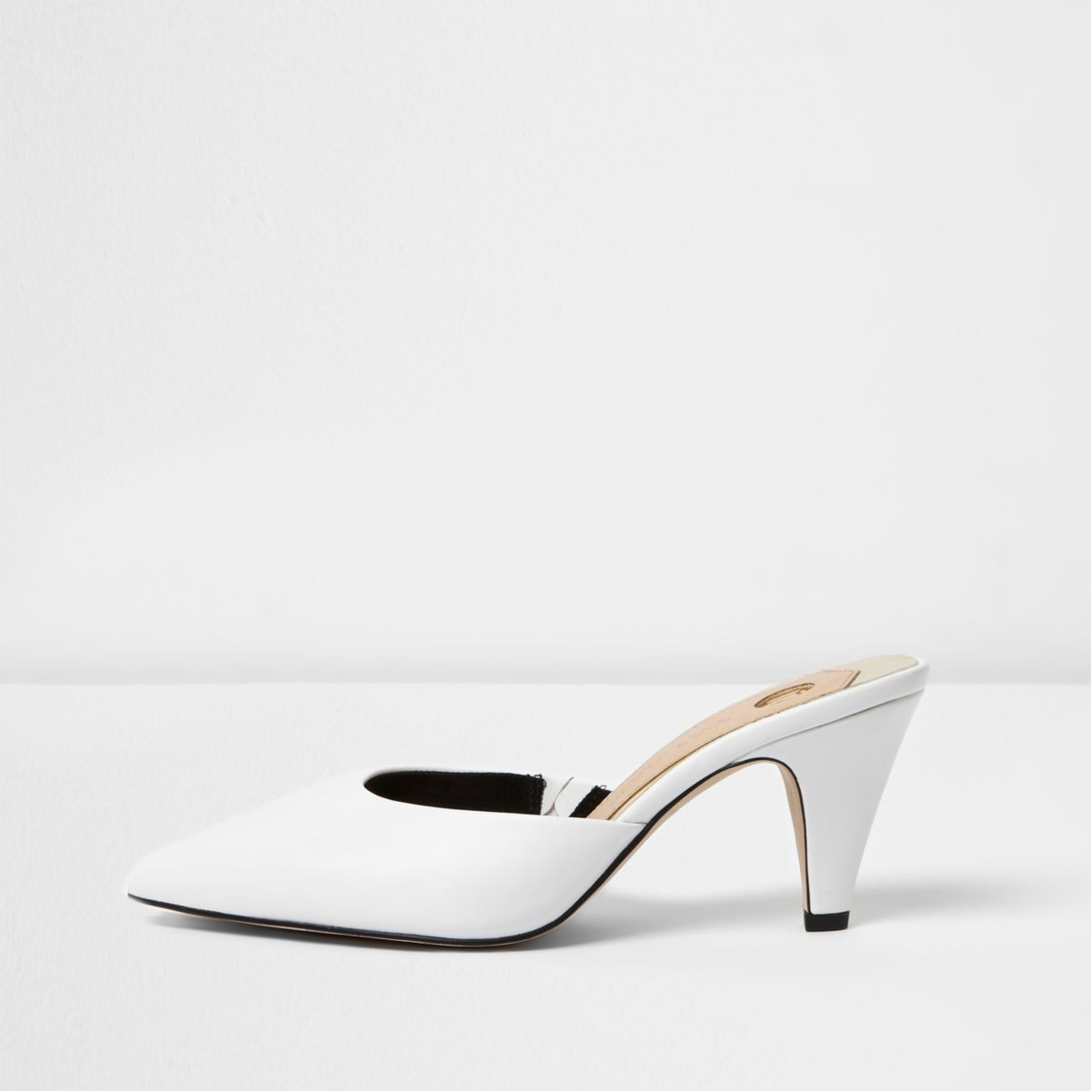 White pointed cone heel mules