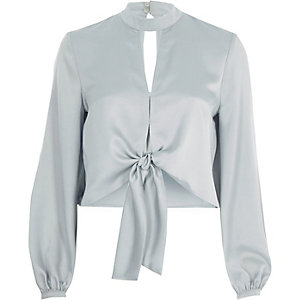 Light grey satin choker long sleeve crop top