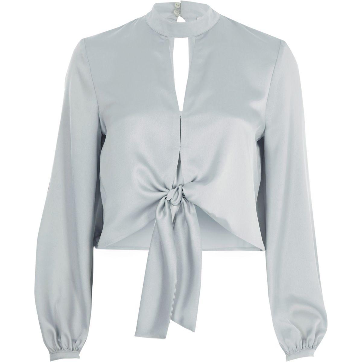 Light grey satin choker long sleeve crop top
