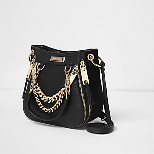 Black croc embossed chain mini scoop tote bag