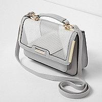 Lichtgrijze kleine satchel met textuur