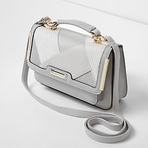 Light grey mixed texture mini satchel bag