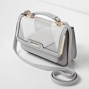 Mini sacoche gris clair texturée