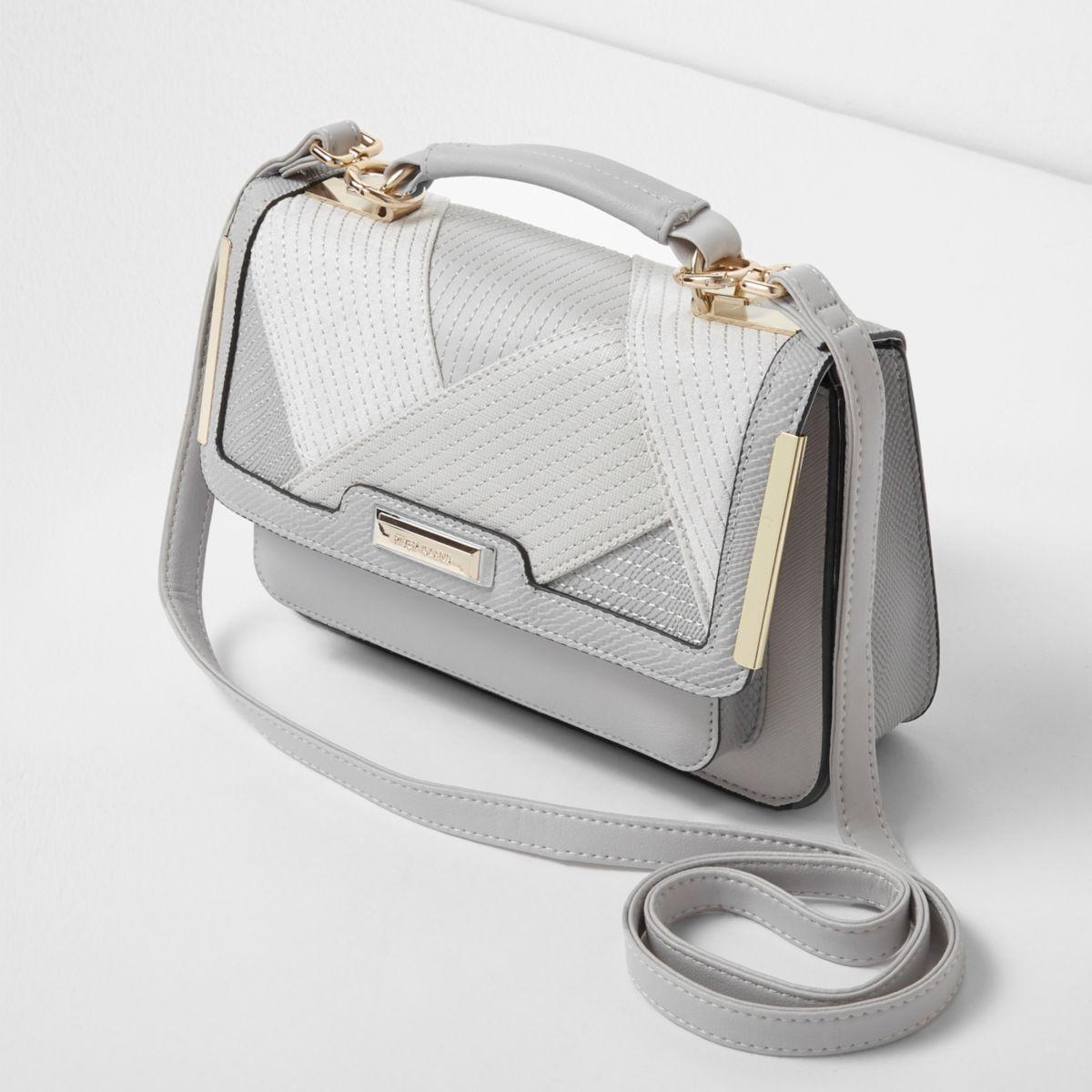 Light grey mixed texture mini satchel bag