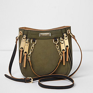 Khaki green zip detail mini scoop tote bag