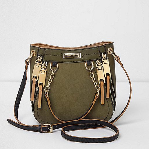 Khaki green zip detail mini scoop tote bag