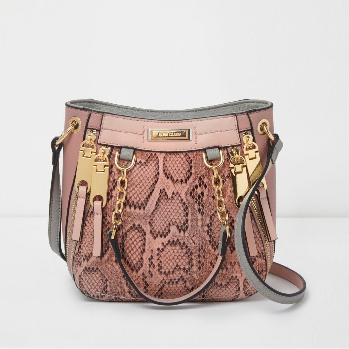 Pink snakeskin mini scoop cross body tote bag