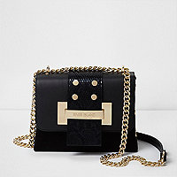 Black and gold tone chain cross body bag