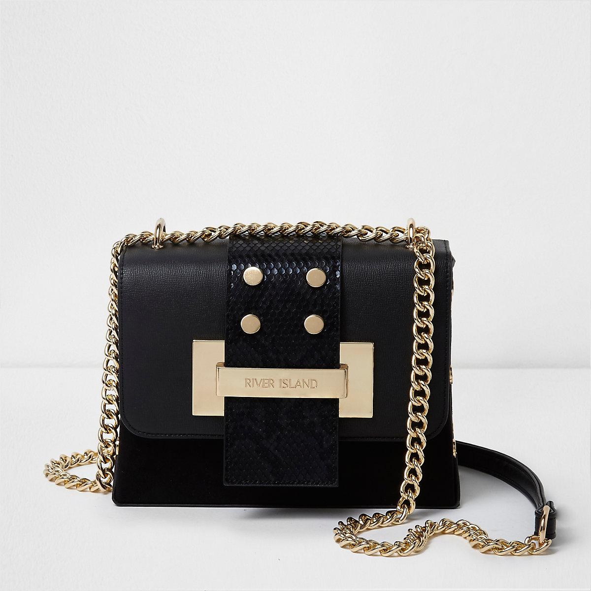Black and gold tone chain cross body bag
