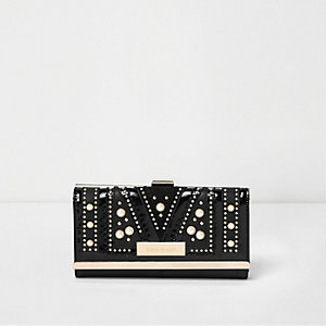 Black faux pearl and stud embellished purse