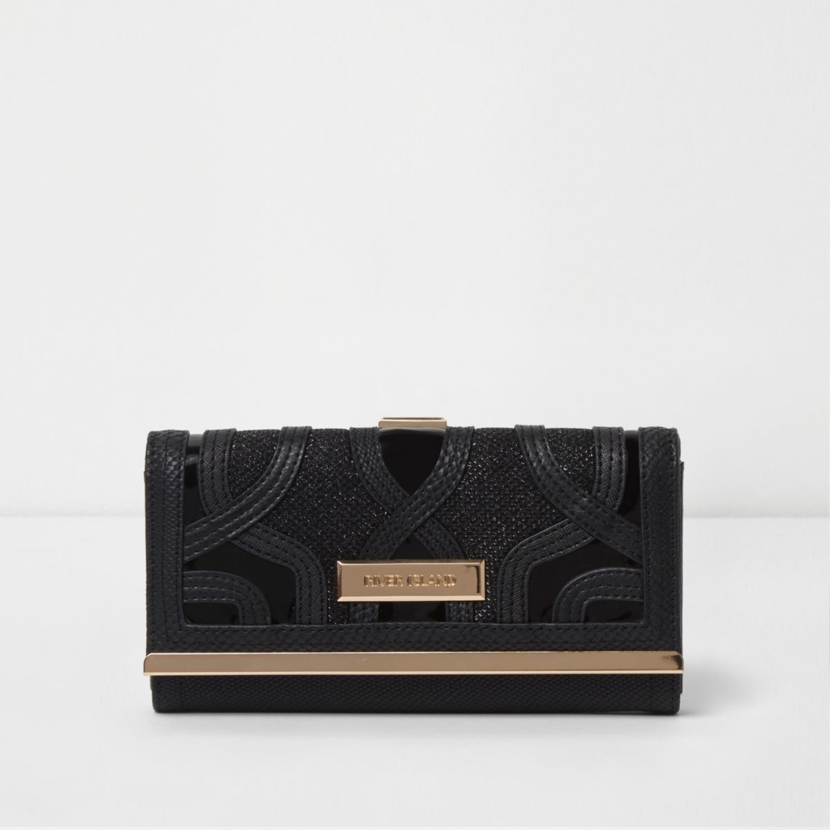 Zwarte glinsterende portemonnee met druksluiting