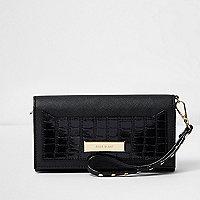 Black croc embossed foldout purse