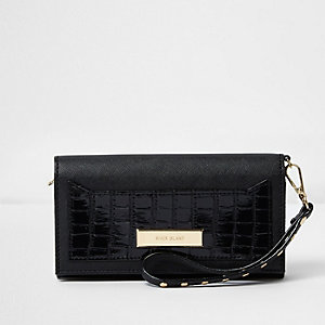 Black croc embossed foldout purse