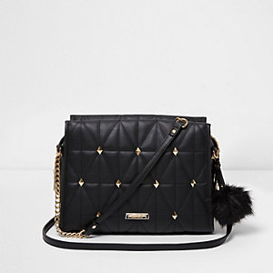 Black quilted cross body studded chain bag