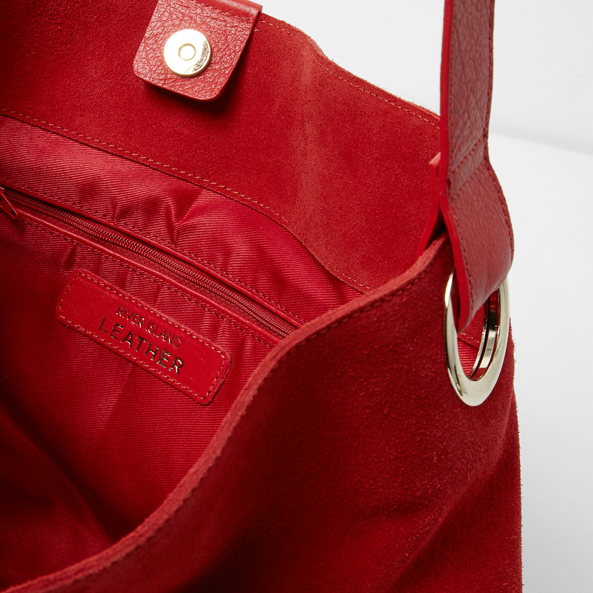 e7a30ab22cb9 Red suede chain link handle slouch bag - Shoulder Bags - Bags ...