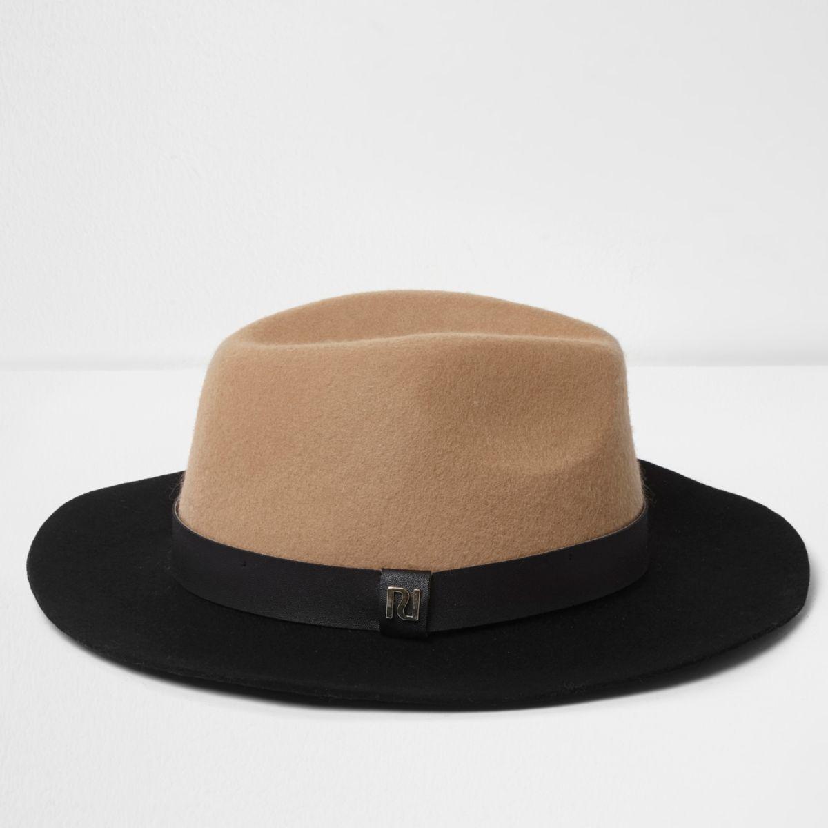 Camel colour block wide brim fedora hat