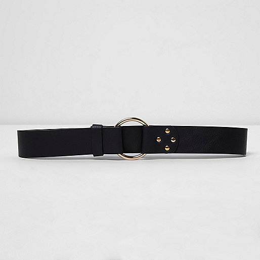 Black gold tone ring jeans belt