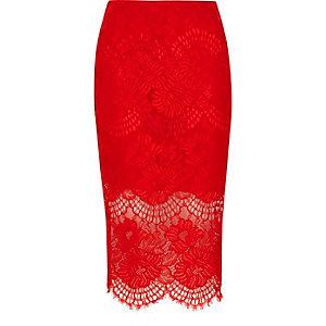 Jupe crayon en dentelle rouge avec ourlet festonné