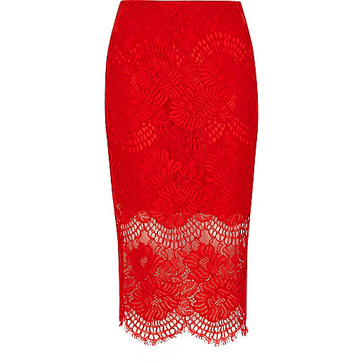 Red lace scallop hem pencil skirt