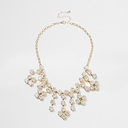 Gold tone cup chain statement necklace