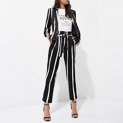 Black stripe print tie waist tapered trousers
