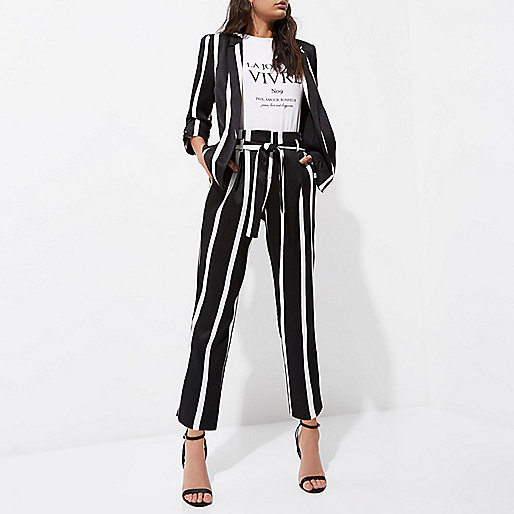 Black stripe print tie waist tapered pants