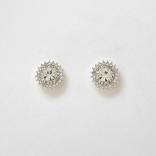 Silver tone diamante starburst stud earrings