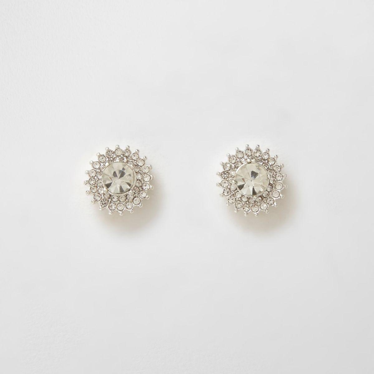 Silver tone rhinestone starburst stud earrings