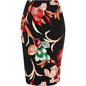 Jupe crayon à pois et fleurs noire