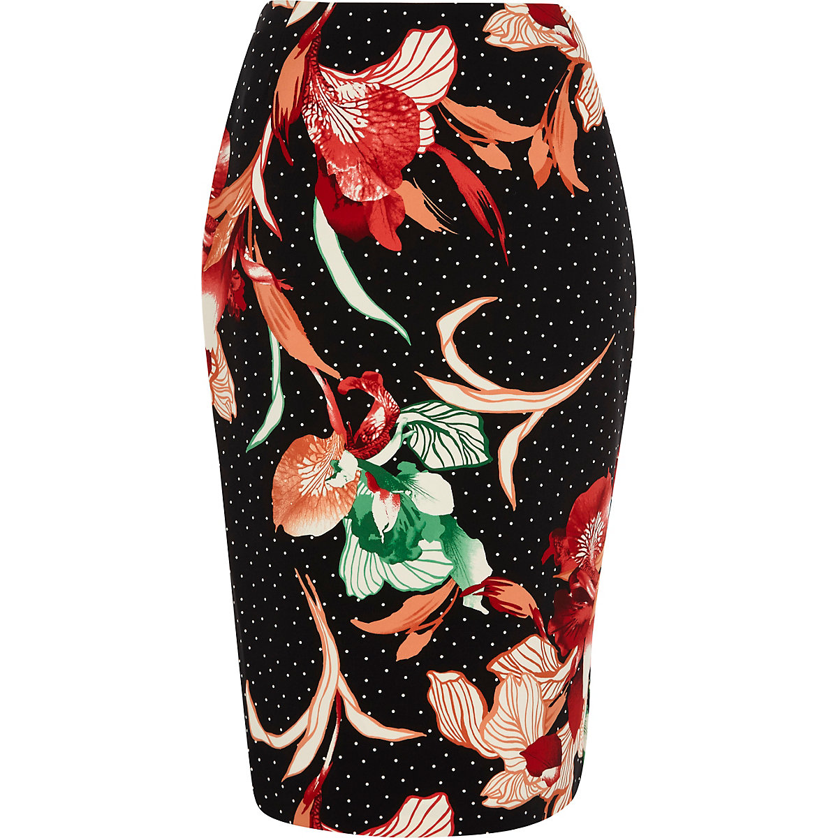 Black floral polka dot print pencil skirt