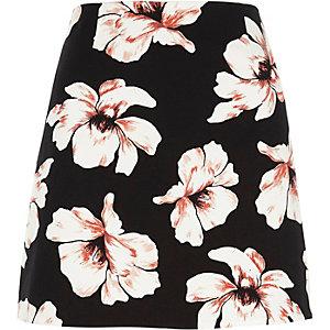 Mini-jupe noire à fleurs