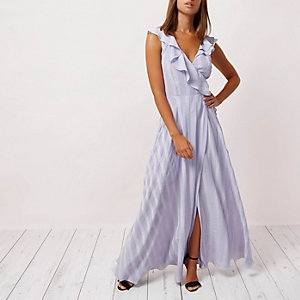 Lilac stripe frill wrap maxi dress