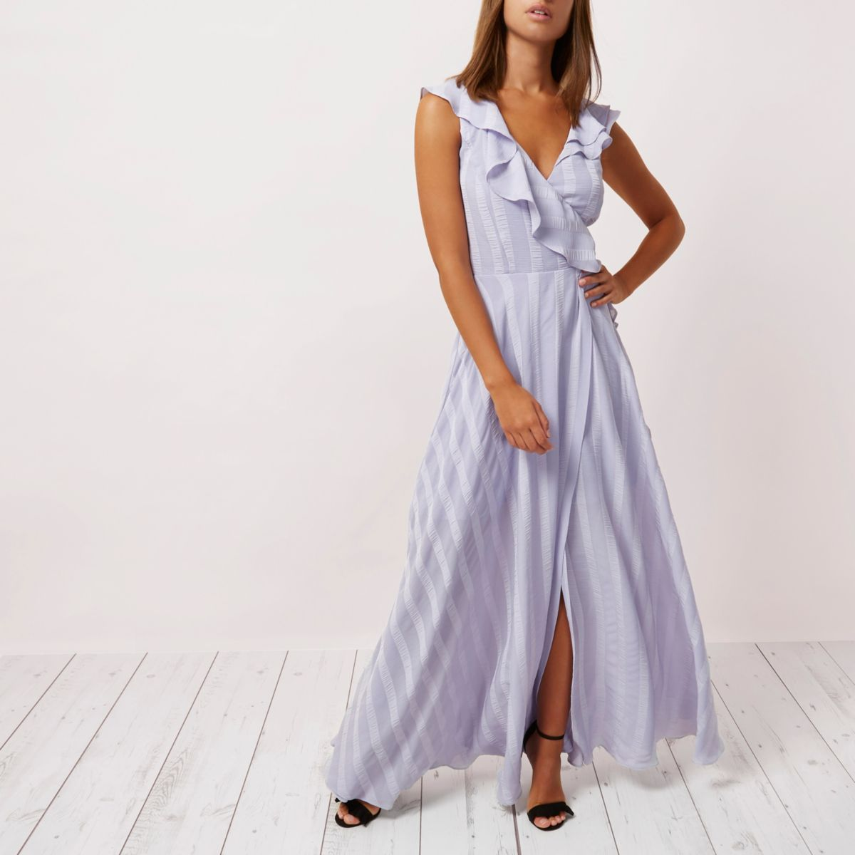 Lilac stripe frill wrap maxi dress