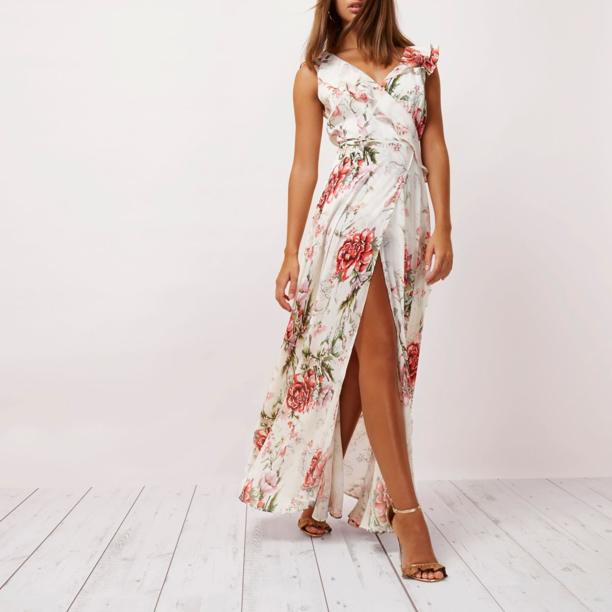 Cream floral print frill wrap maxi dress