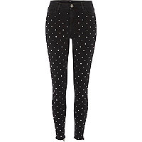 Black diamante stud Amelie super skinny jeans