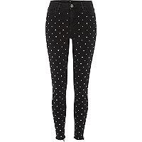 Black rhinestone stud Amelie super skinny jeans