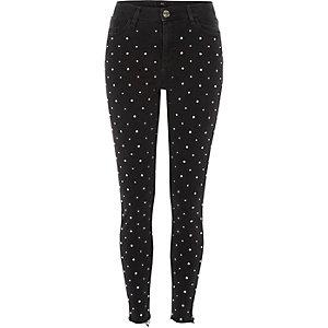 Amelie – Schwarze Skinny Jeans mit Strass-Nieten