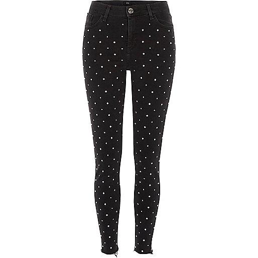 Black diamante stud Amelie super skinny jeans